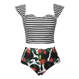 Stripped Top w/ Red Floral Bottoms Bathing Suit
